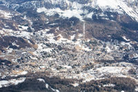 Cortina d'Ampezzo winter town view