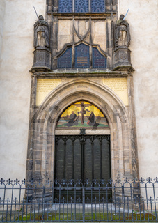 the door of the castle church door in Wittenberg where Martin Luther nailed his 95 theses in 1517