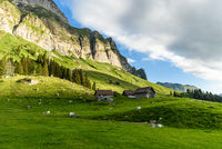 Mountain huts and pastures on the Schwaegalp, Switzerland
