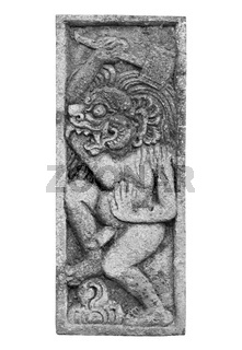 Naked mythical creature - stone architectural ornament from Indonesia