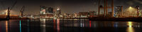 Large night panorama of the Hafencity in Hamburg with the Elbphilharmony