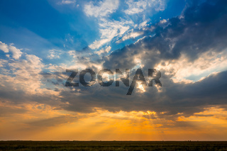 Colorful Sunset over the Steppe
