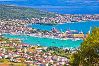 Trogir riviera. Troagir bay and Ciovo island view from the hill
