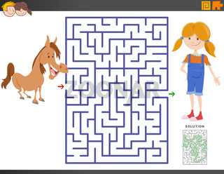 maze game with cartoon girl and pony
