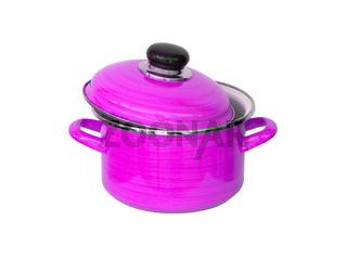 Old pink metal cooking pot