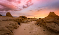 Sunset in sandy desert