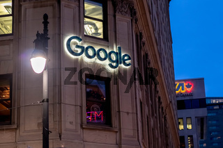 Google Montreal Office in Canada at Night