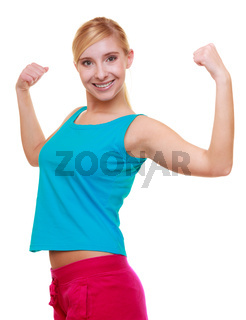 Sport woman fitness girl showing her muscles. Power and energy. Isolated.