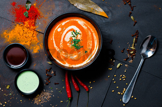 Indian food and spicy spices, stylish photos for the menu