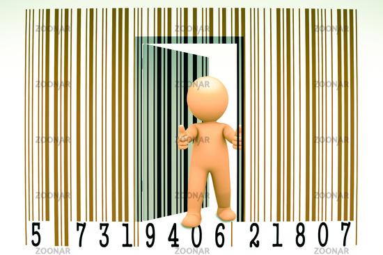 Puppet opens a bar code, Concept