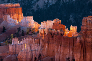 First Rays of the Sun Striking Bryce Canyon