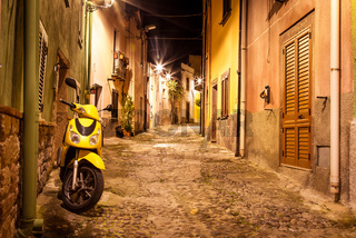 Bosa, Sardinia Island, Italy at nght