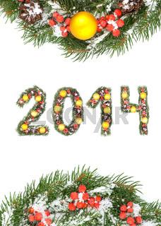 Christmas card with a christmas ornamen 2014