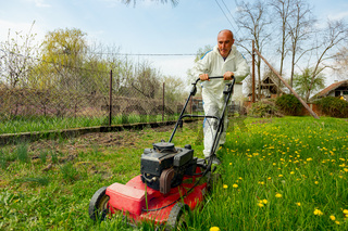 Farmer in protective clothing is mowing a lawn in a garden with a petrol lawn mower