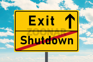 Reduce the economy and social contacts. Representation as traffic sign with the inscription 'Shutdown' and 'Exit'.