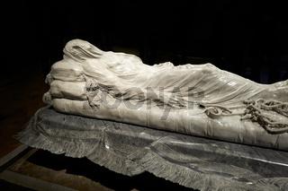 Naples Campania Italy. TheVeiled Christ(Cristo velato) is amarblesculpture made byGiuseppe Sanmartinoand preserved in theCappella Sansevero