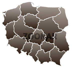 Map of Poland in a brown color