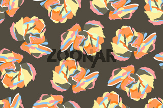 Vector floral seamless pattern. Colorful abstract flowers