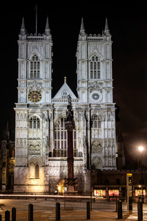 View of Westminster Abbey at Nighttime