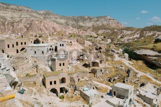 Cavusin old village, cave town in Cappadocia, Turkey