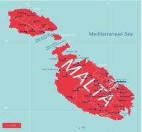 Malta country detailed editable map
