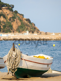 fishing boat in the sand typical in Catalonia, Blanes,