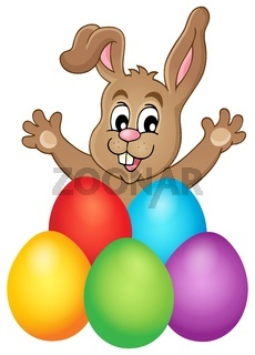 Young bunny with Easter eggs theme 1 - picture illustration.