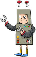 boy in robot costume at Halloween party cartoon illustration