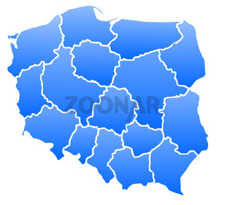 Map of Poland in a blue color isolated on a white