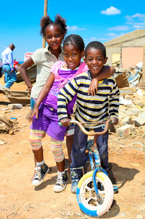 African Children in a Tornado damaged Township