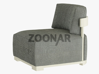 Gray armchair soft fabric 3d rendering