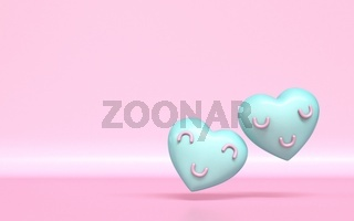 Two hearts with smile faces 3D