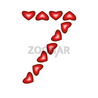 Number 7 made of hearts