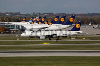 Lufthansa Flugzeuge am Flughafen München