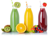 Fruit juice green smoothie smoothies fruits orange drink drinks straw bottle isolated on white