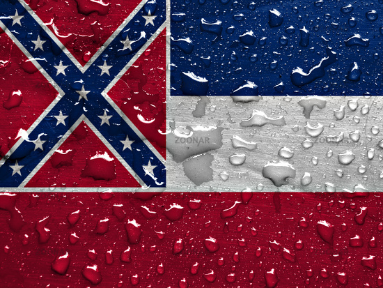 flag of Mississippi with rain drops