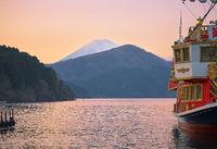 Pirate ship  on Lake Ashi in the sunset light. Hakone, Kanagawa. Honshu. Japan