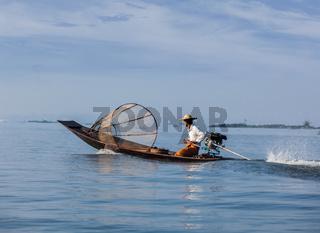 Traditional Burmese fisherman in Myanmar