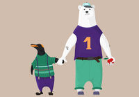 Bear and penguin, best friend, vector illustration.