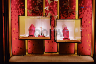 Shop window display of a luxury boutique store on Bahnhofstrasse street in Zurich, Switzerland