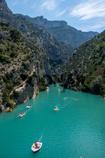 view to the cliffy rocks of Verdon Gorge at lake of Sainte Croix, Provence, France, near Moustiers Sainte Marie, department Alpes de Haute Provence, region Provence Alpes Cote Azur