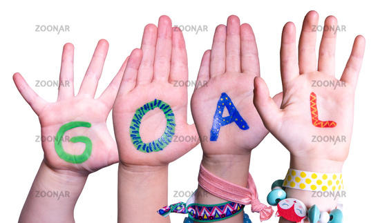 Children Hands Building Word Goal, Isolated Background