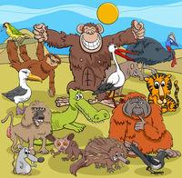 cartoon wild animal comic characters group
