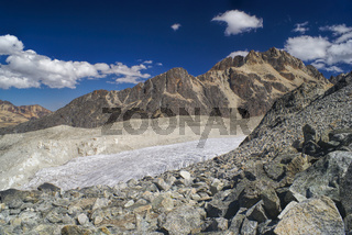 Majestic glacier and mountain peaks in Bolivian Andes