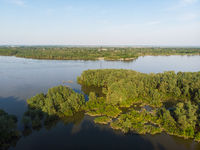 Aerial view of big siberian Ob river