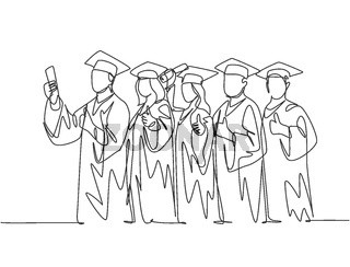 One line drawing group of young happy graduate male and female college student wearing gown and holding diploma certificate paper. Education concept continuous line draw design vector illustration