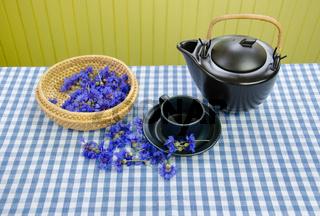 aroma fresh cornflower tea set on blue white checked tablecloth