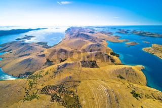 Kornati islands national park. Unique stone desert islands in Mediterranean archipelago aerial view.