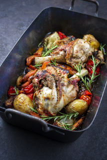 Traditional braised leg of lamb with eggplant