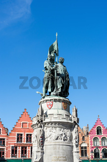 Jan Breydel and Peter De Conik Statue in Market Square Bruges